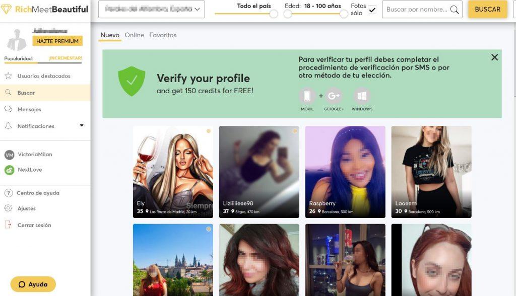 Muchos perfiles femeninos donde elegir